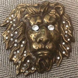 Vtg Large Brass Lionhead Buckle, Virginia Vogl